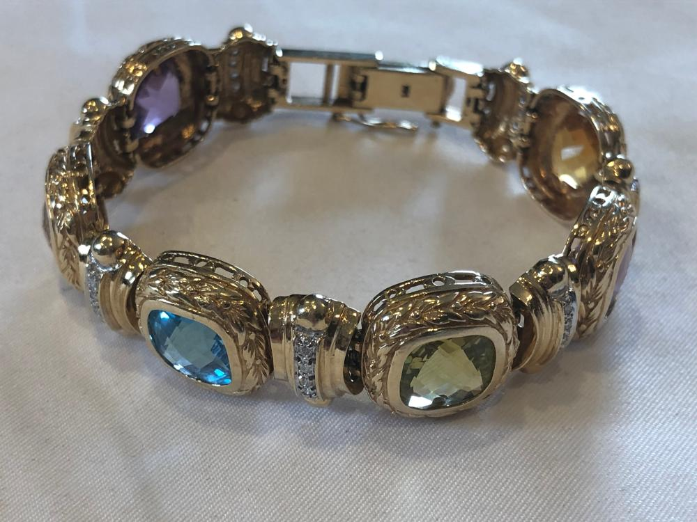 14K Yellow Gold and Semi Precious Stone and Diamond  Bracelet - Ross Simons