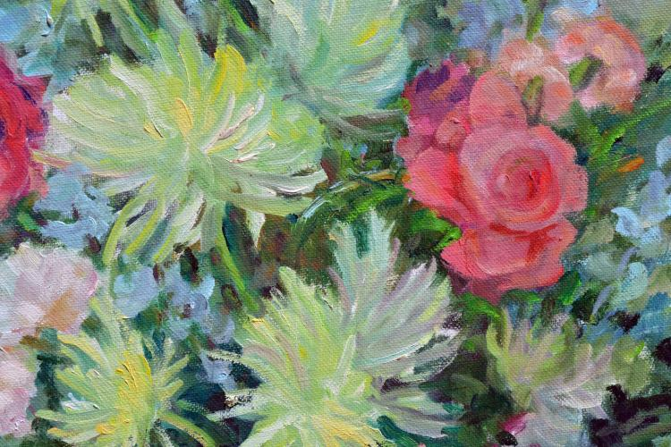 Chrysanthemums and Pink Roses Still Life
