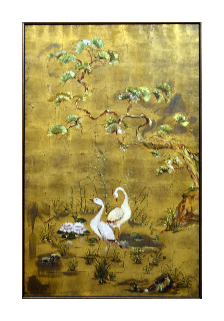 Two Cranes and Water Lilies