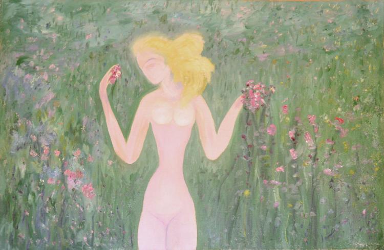 Blonde Woman in Midnight Tropical Garden, C. 1933