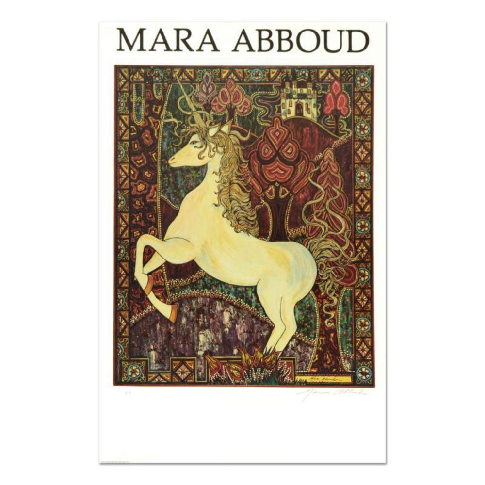 """Mara Abboud, """"Unicorn"""" Limited Edition Lithograph from an AP Edition, Hand Signed with Letter of Authentication."""