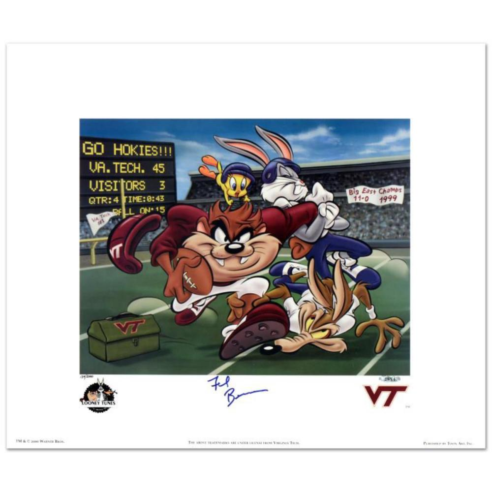 """""""Virginia Tech, Frank Beamer"""" Limited Edition Lithograph from Warner Bros., Numbered and Hand Signed by Virginia Tech Head Football Coach, Frank Beamer, with Hologram Seal and Certificate of Authenticity."""