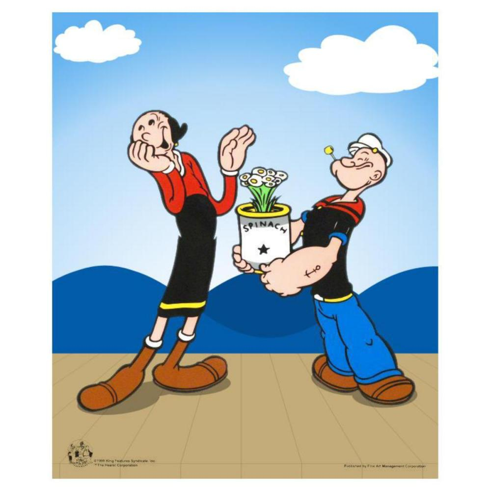 """""""Popeye Spinach"""" Limited Edition Popeye Sericel with Official King Features Syndicate Seal. Includes Certificate of Authenticity."""