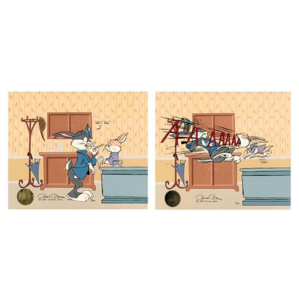 """Chuck Jones """"Bugs Doctor: Aahh.. (Diptych)"""" Hand Signed, Hand Painted Limited Edition Sericel."""