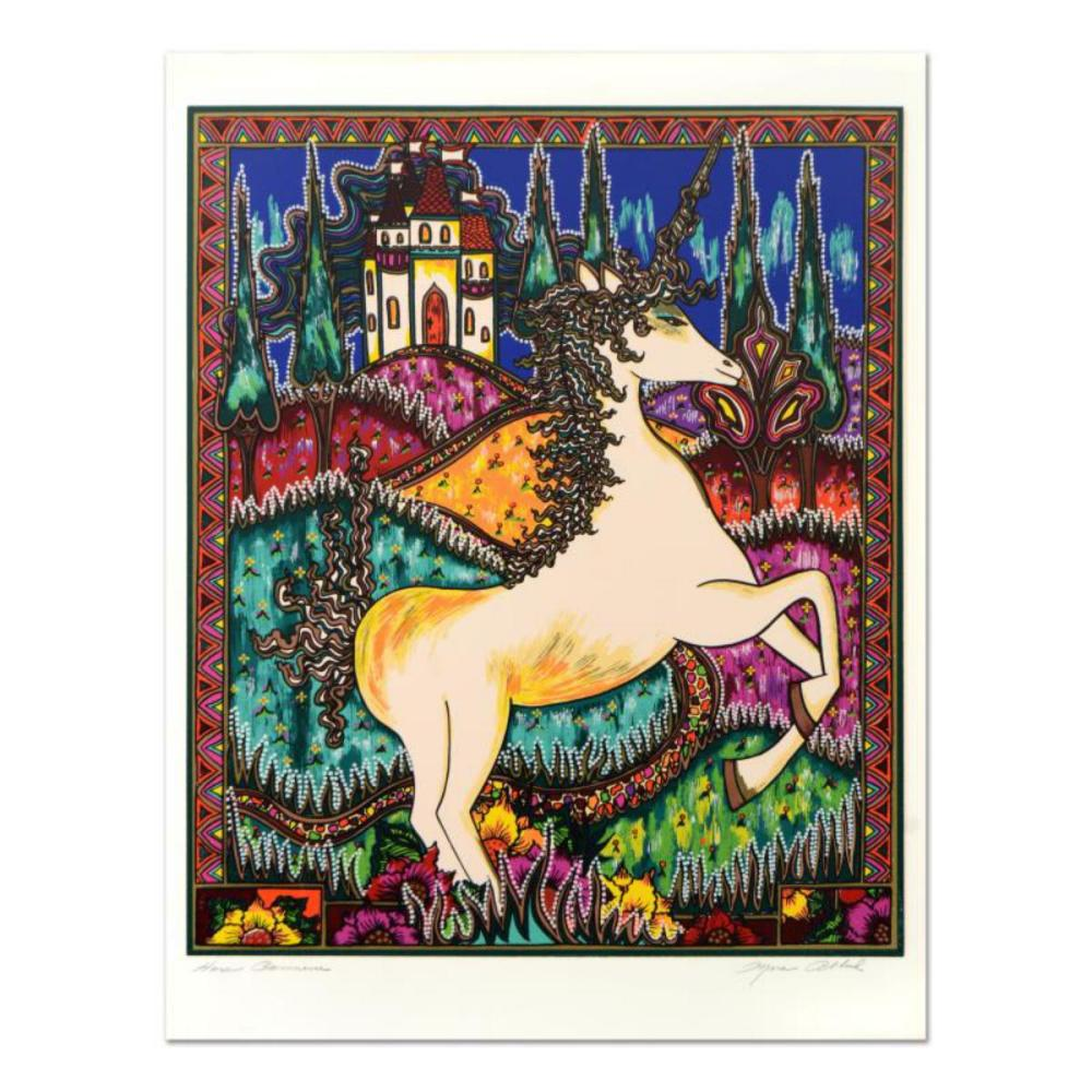"""Mara Abboud, """"Stained Glass Unicorn"""" Limited Edition Lithograph, Numbered and Hand Signed with Letter of Authentication."""