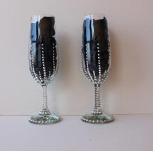 Champagne glasses with Genuine Swarovski Crystals Set of two