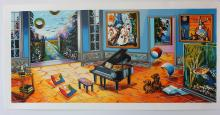 Alexander Astahov Limited Edition Serigraph BLACK PIANO HS/N with COA
