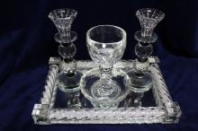 Luxurious Glass and Crystals Judaica Shabbat Set Made by Jewish Designer