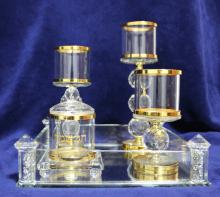 Beautiful Glass  Judaica Holiday Set Made by Jewish Designer