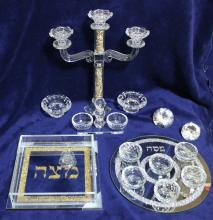 Beautiful Glass and Crystals Judaica Complete Pesach (Passover) Set Made by Jewish Designer