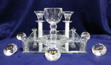 Beautiful Glass and Crystals Judaica Shabbat Set Made by Jewish Designer