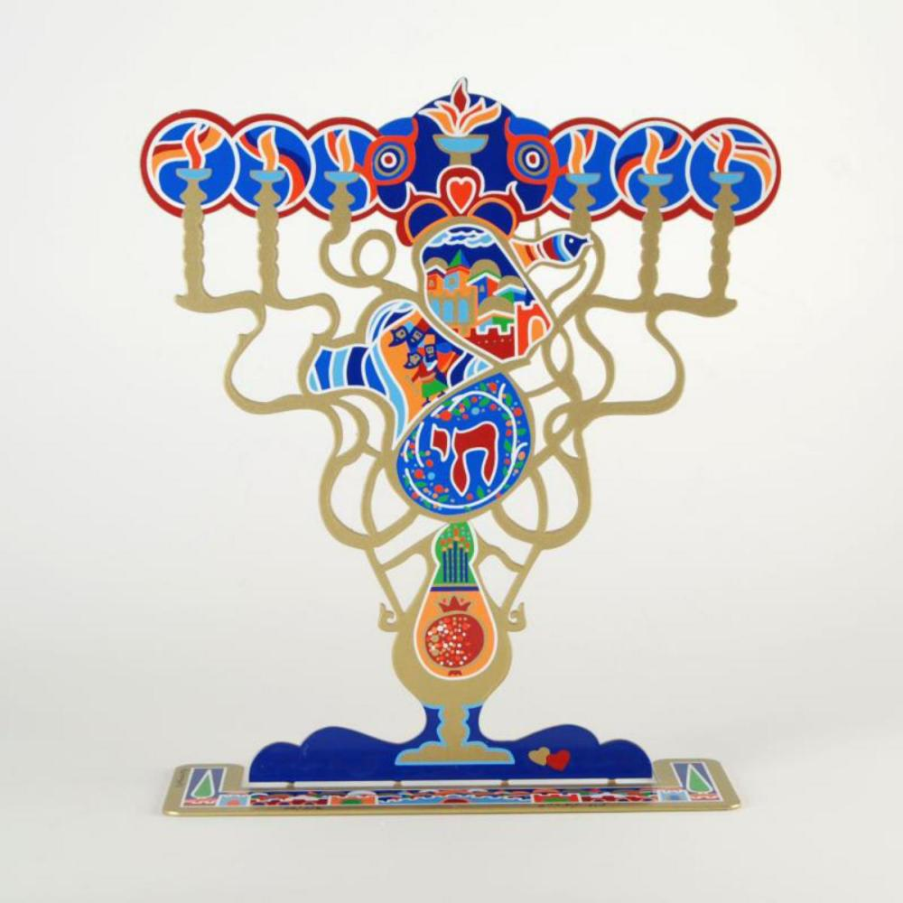 """Raphael Abecassis, """"Menorah"""" Limited Edition Metal Sculpture, Numbered and Hand Signed with Certificate of Authenticity."""