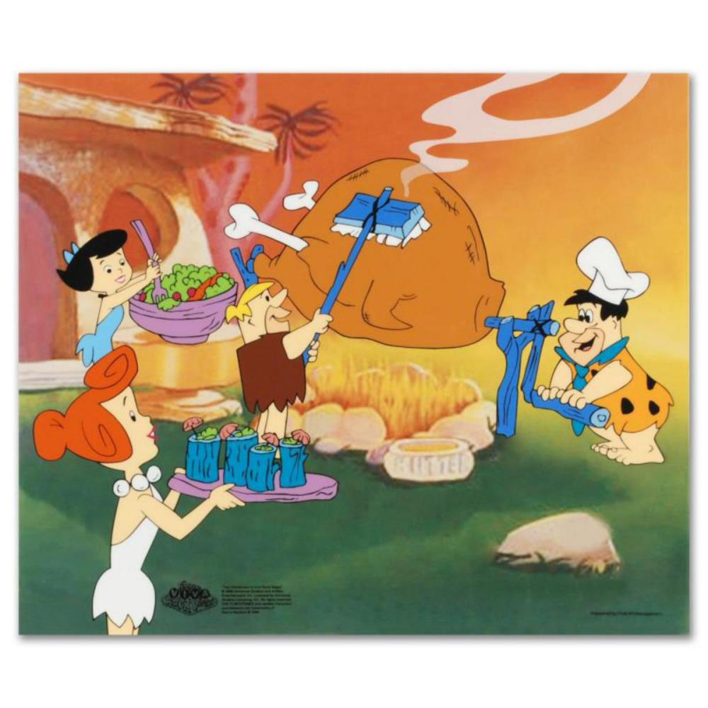 """""""Flintstones Barbecue"""" Limited Edition Sericel from the Popular Animated Series The Flintstones. Includes Certificate of Authenticity."""