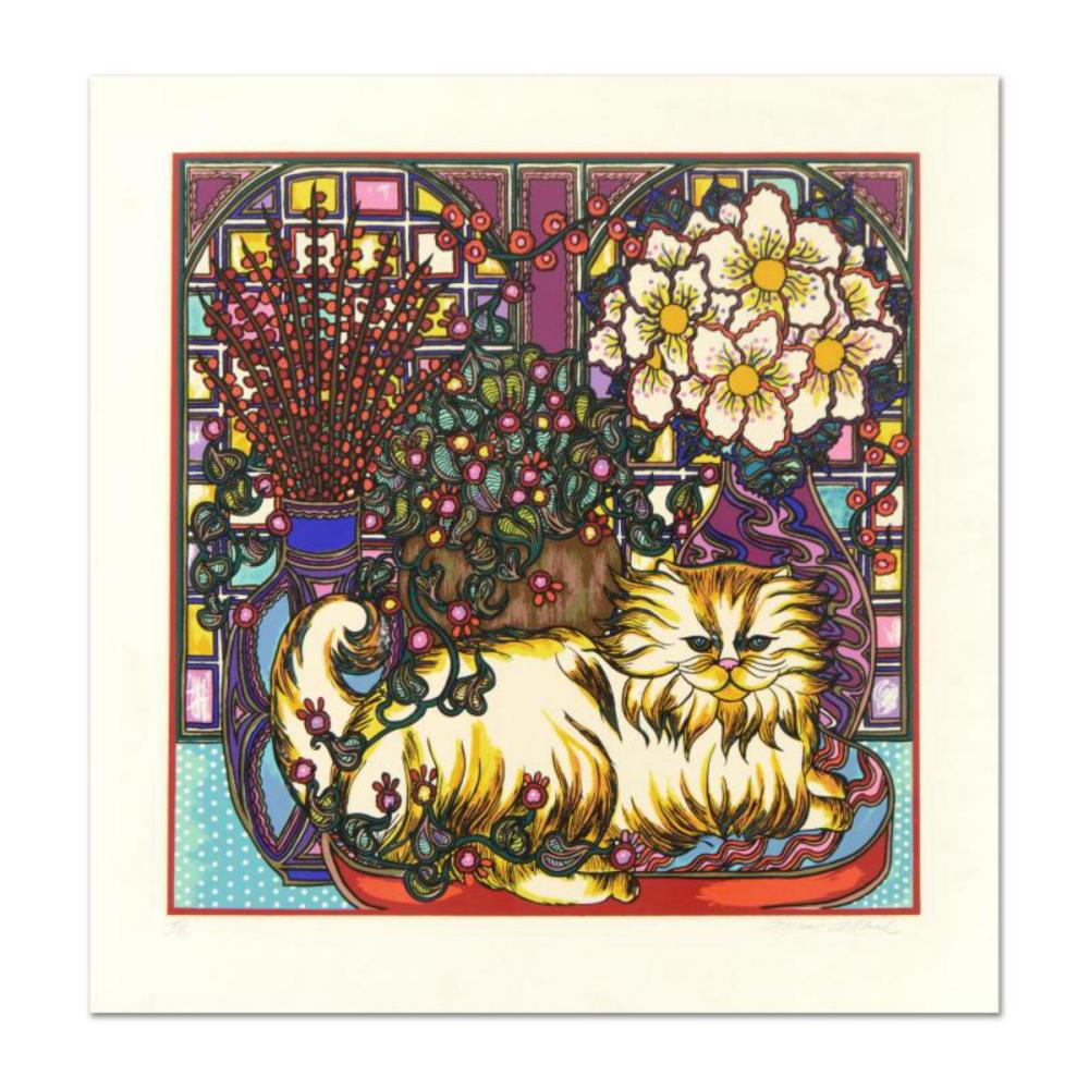 """Mara Abboud, """"Stained Glass Cat"""" Limited Edition Lithograph, Numbered and Hand Signed with Letter of Authentication."""