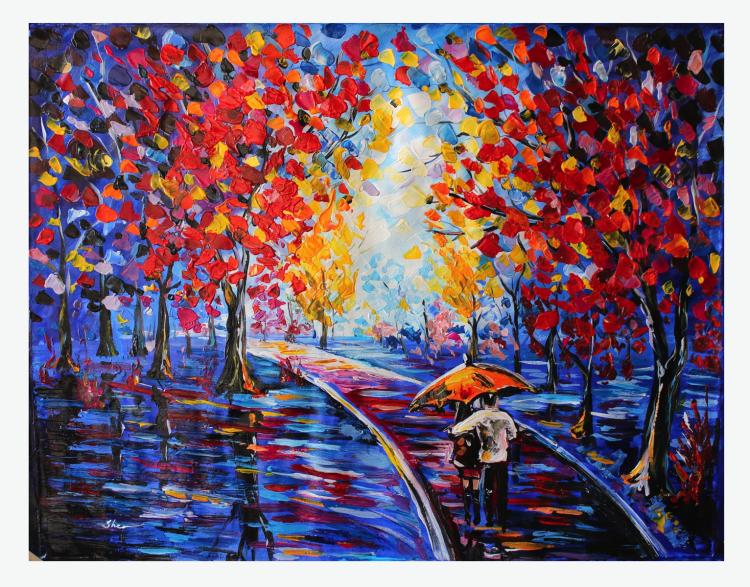 Sher Original Oil on Canvas- Couples in the Park