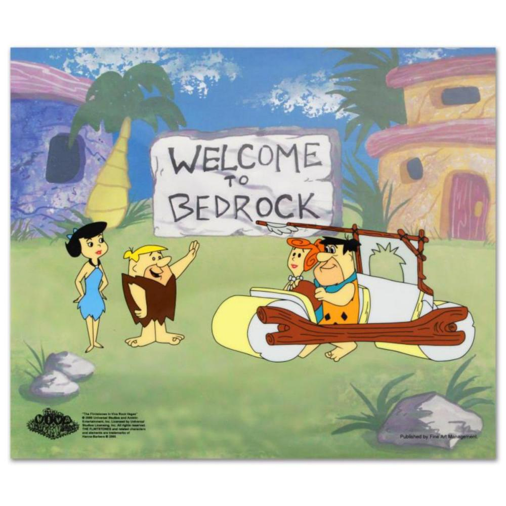 """""""Fred's New Car"""" Limited Edition Sericel from the Popular Animated Series The Flintstones with Certificate of Authenticity."""
