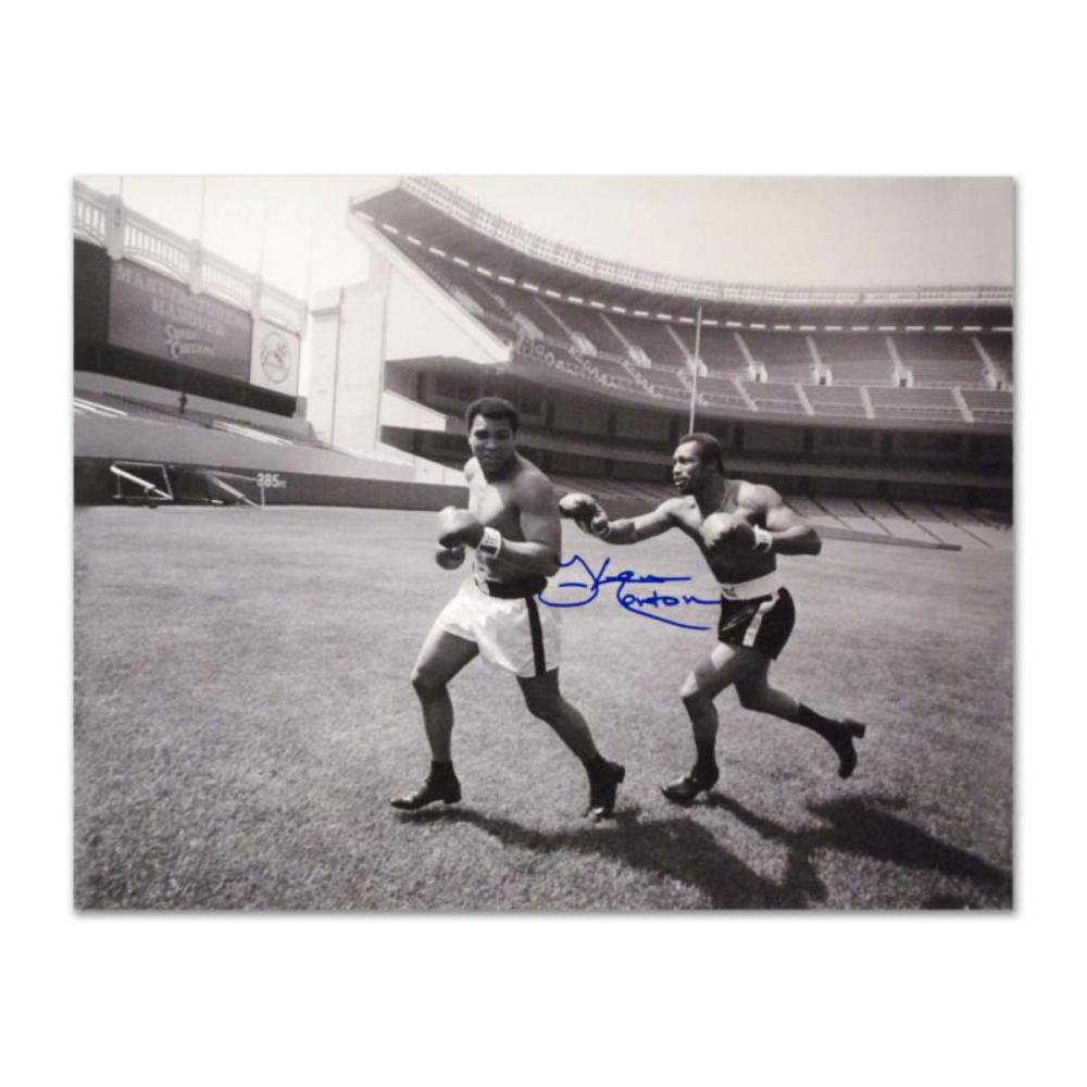 """Must-Have Signed Sports Photo. """"Ken Norton and Ali, Yankee Stadium"""" Hand-Autographed by Ken Norton (1943-2013) with Certificate of Authenticity."""