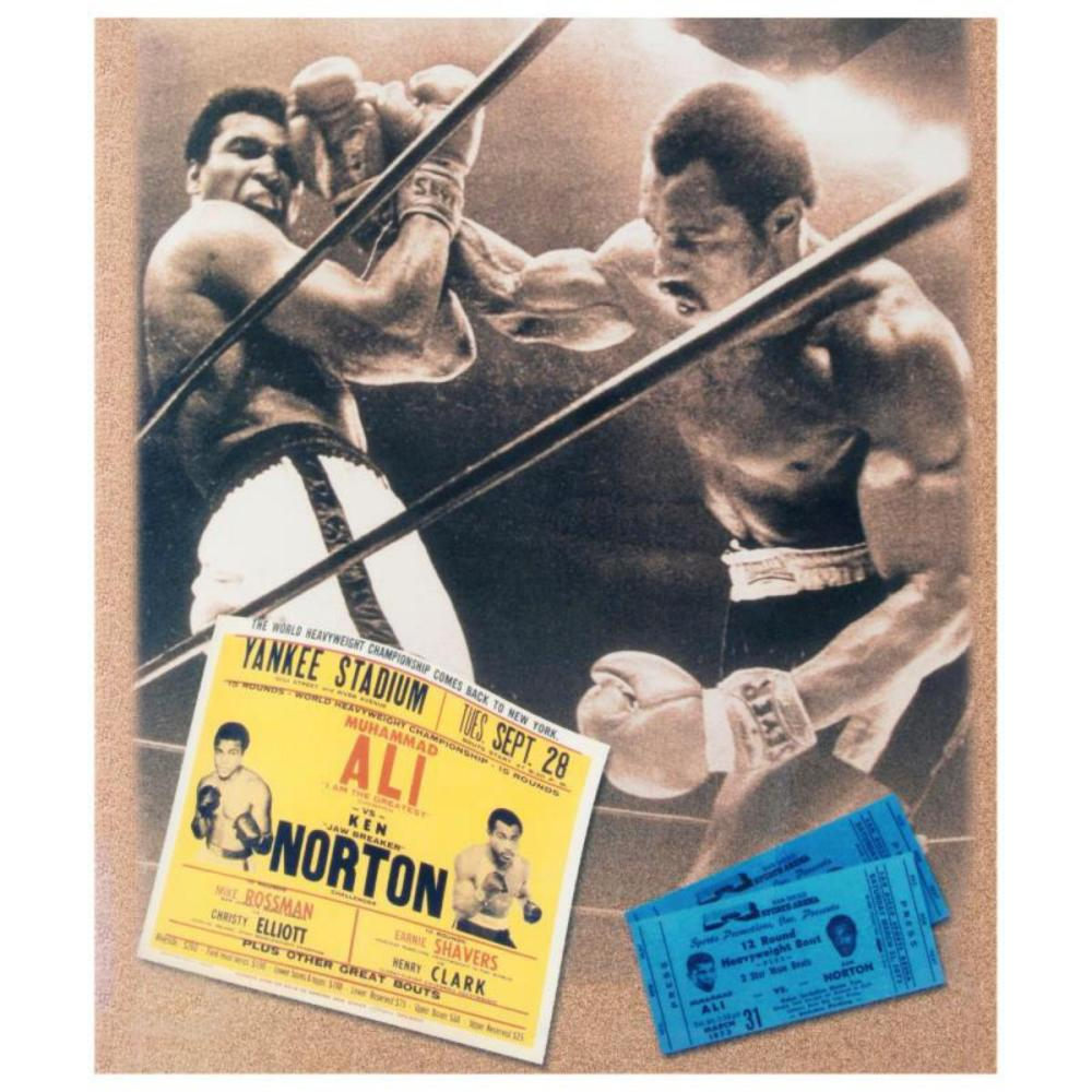 """Must-Have Signed Sports Photo Collage. """"Ken Norton and Ali Ticket"""" Hand-Autographed by Ken Norton (1943-2013). Includes Certificate of Authenticity."""