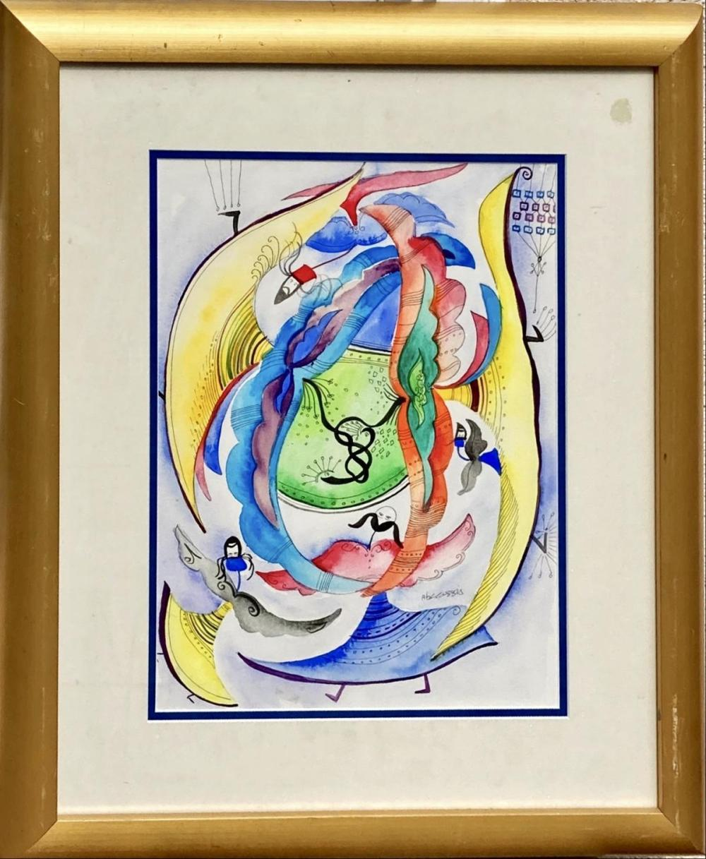 """Raphael Abecassis Original hand painted gouache on paper """"Angels"""""""