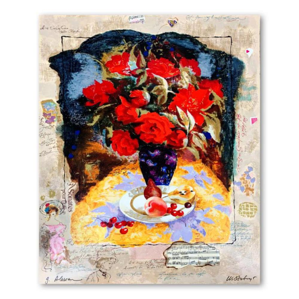 """Alexander Galtchansky (1959-2008) and Tanya Wissotzky (1959-2006), """"Blossoms and Fruit"""" Hand Signed Limited Edition Serigraph on Paper with Letter of Authenticity."""