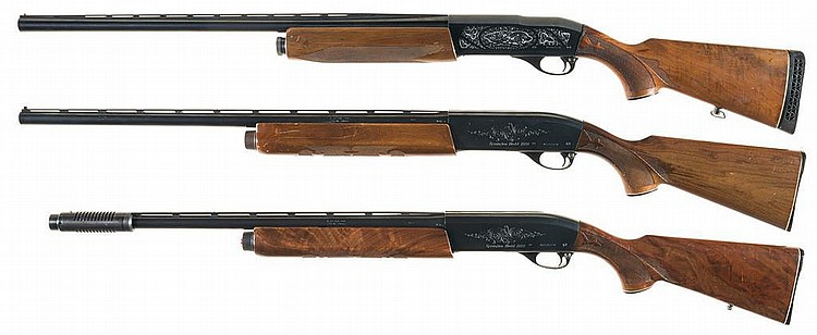 Three Remington Semi-Automatic Shotguns -A) Engraved