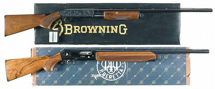 Two Shotguns -A) Engraved Browning BPS Field Grade Slide Action