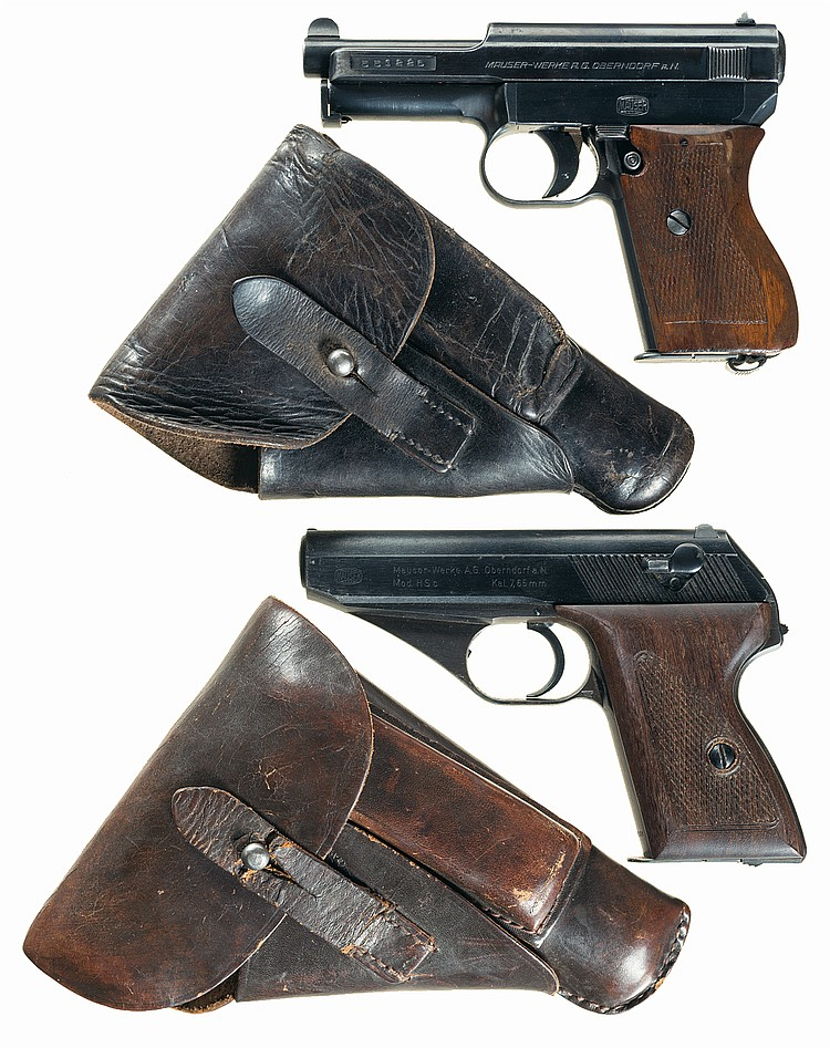 Two Semi-Automatic German Military Pistols with Holsters -A