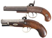 Two Antique Single Shot Percussion Pocket Pistols