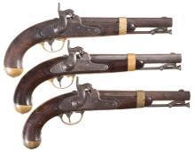 Three U.S. Model 1842 Percussion Pistols