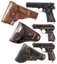 Three European Semi-Automatic Pistols with Holsters