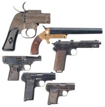 Two Flare Pistols and Four Semi-Automatic Pistols