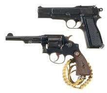 Two Military Handguns with Holster Rigs