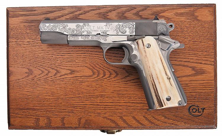 Custom Engraved and Cased Colt MK IV Series 80 1911 Semi