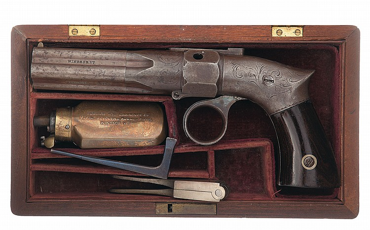Cased Engraved Robbins & Lawrence Percussion Pepperbox
