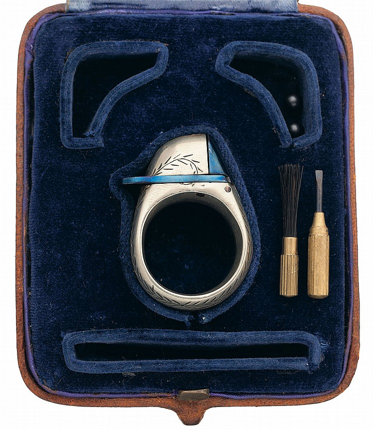 Very Fine Cased Le Petit Protector Percussion Ring Gun