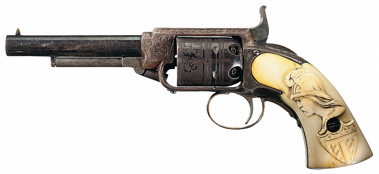 Outstanding Engraved James Warner Pocket Revolver with Relief Carved Ivory Grips