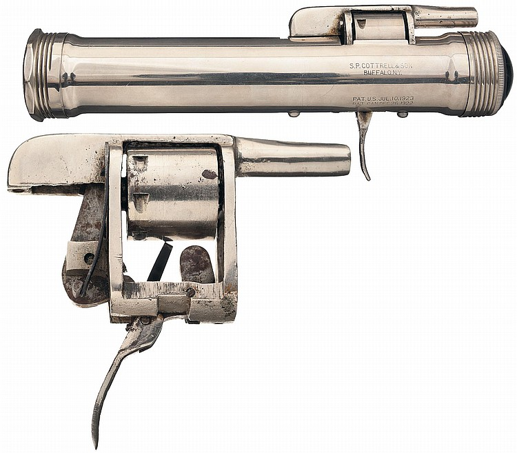 Extremely Rare S.P. Cottrell & Son Flashlight Revolver with Extra Revolver Action