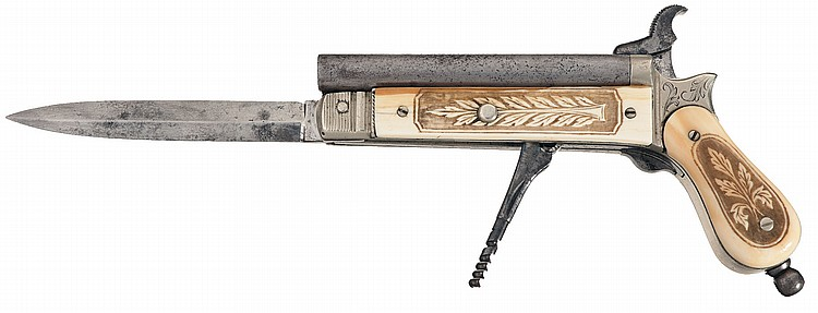 Rare and Unique Cromwell Type Pinfire Knife Pistol with Engraved German Silver Fittings and Carved Ivory Stocks