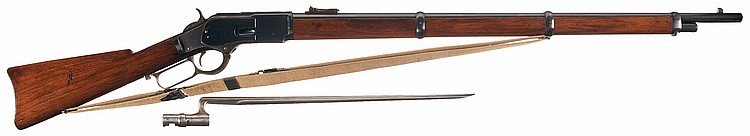 Excellent Winchester Third Model 1873 Lever Action Musket with Socket Bayonet