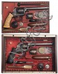 Magnificent Cased Set of Exhibition Engraved and Gold Inlaid Deane Adams & Deane Belgian Double Action Percussion Revolvers with Accessories