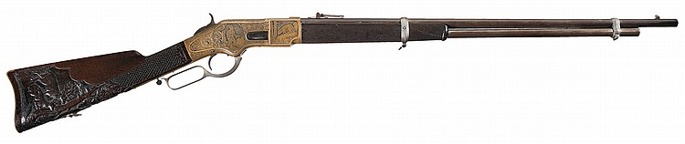 Fantastic Winchester Third Model 1866 Musket with Exquisite European Relief Engraving and Relief Carved Stock