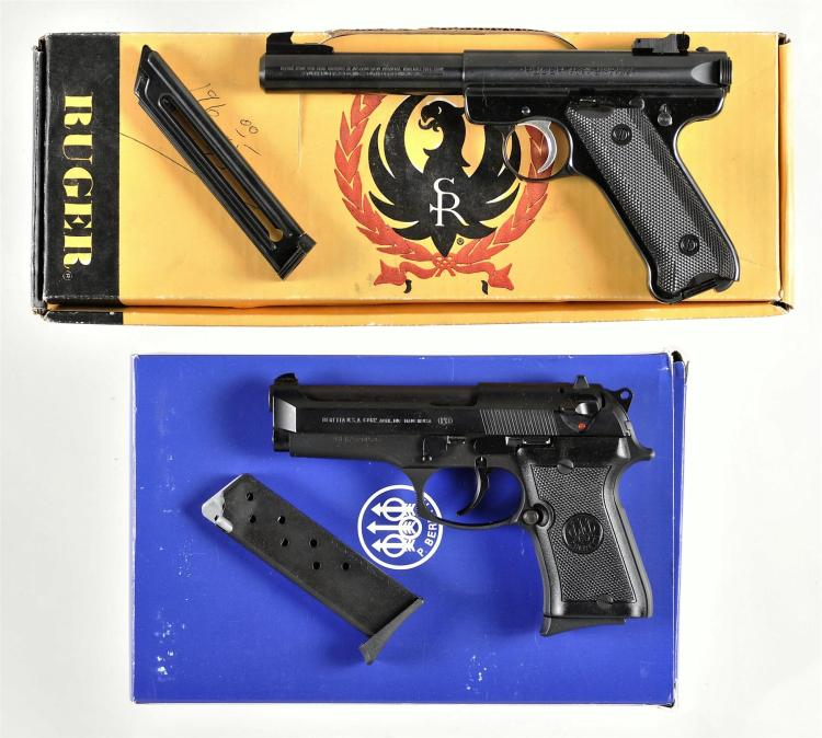 Two Semi-Automatic Pistols -A) Ruger Model Mark II Target Pistol with Box and One Extra Magazine