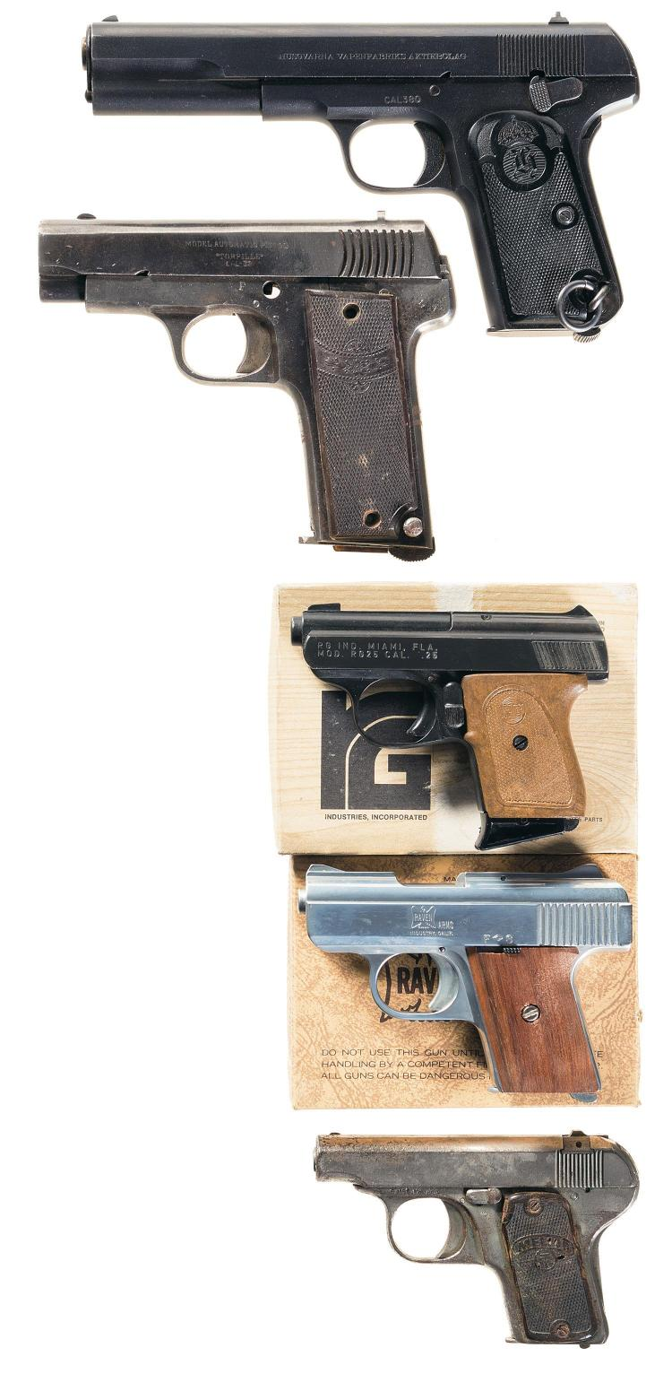 Five Semi-Automatic Pistols -A) Swedish Husqvarna Model 1907 Pistol