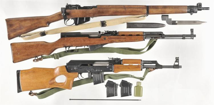Three Long Guns -A) Enfield No. 4 Mark II Bolt Action Rifle with Bayonet and Sling
