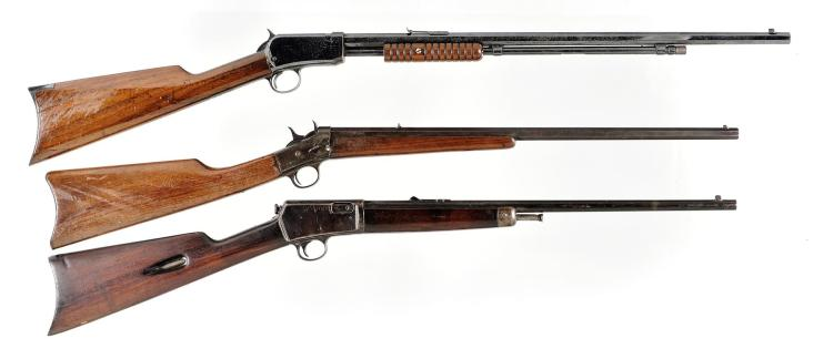 Three Rifles -A) Winchester Model 1890 Slide Action Rifle
