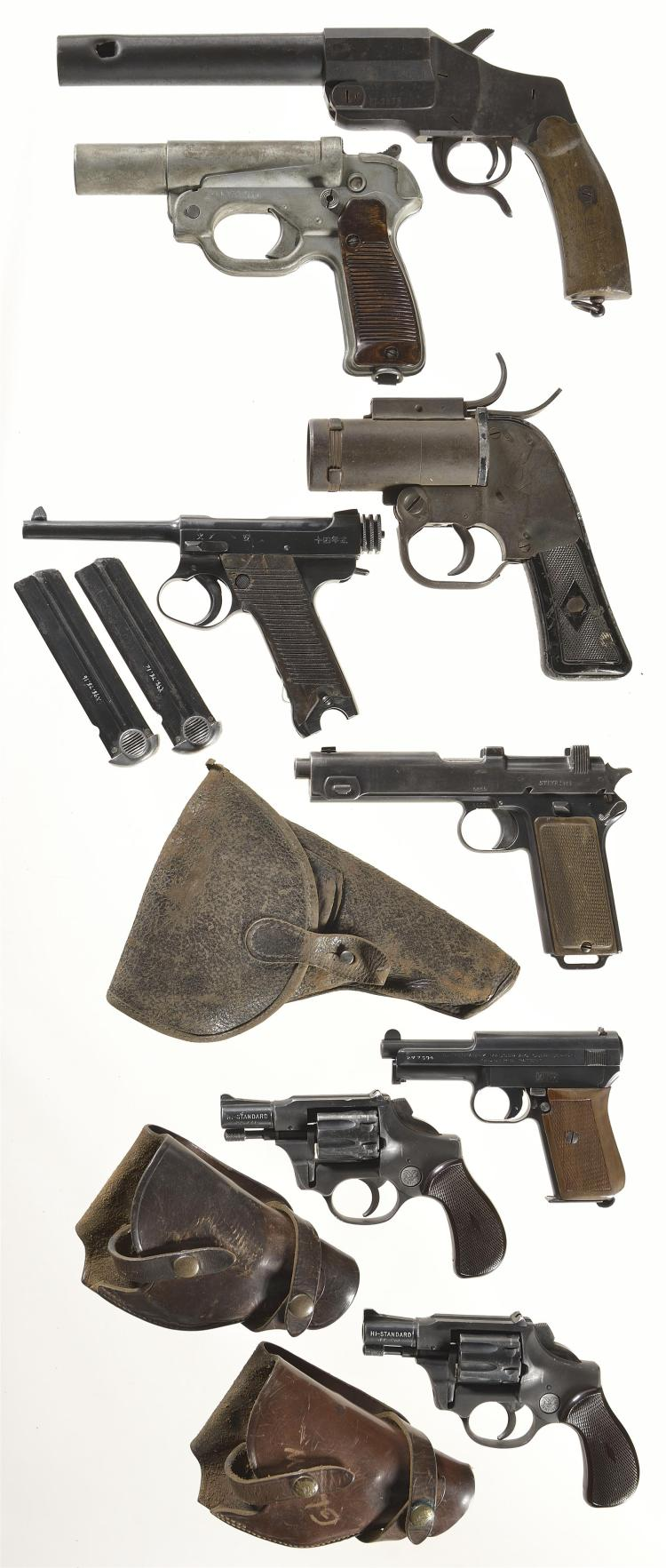 Three Flare Guns and Five Pistols -A) German Flare Pistol