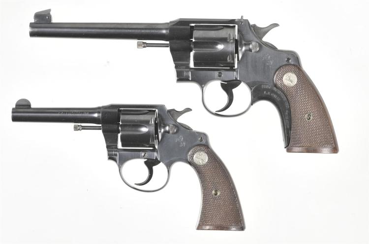 Two Colt Double Action Revolvers -A) Colt Officers Model Revolver