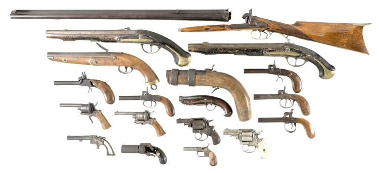 Group of Eighteen Assorted Firearms -A) Unmarked Percussion Shotgun/Rifle Combination