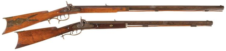 Two Half Stock Percussion Rifles -A) J. C. McHorris Half Stock Rifle