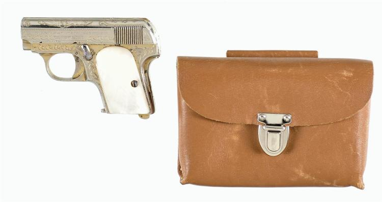 Engraved Spanish Princeps Patent Semi-Automatic Pistol with Leather Pouch